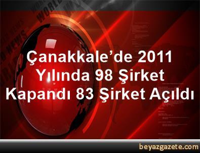 Çanakkale'de 2011 Yılında 98 Şirket Kapandı, 83 Şirket Açıldı