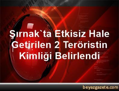 Şırnak'ta Etkisiz Hale Getirilen 2 Teröristin Kimliği Belirlendi