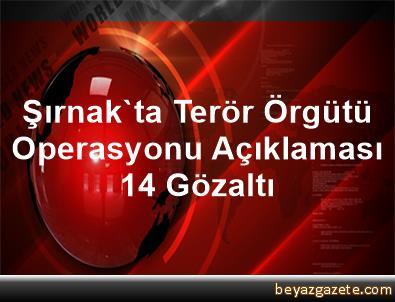 Şırnak'ta Terör Örgütü Operasyonu Açıklaması 14 Gözaltı