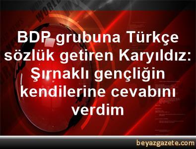 BDP grubuna Türkçe sözlük getiren Karyıldız: Şırnaklı gençliğin kendilerine cevabını verdim