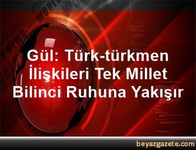 Gül: Türk-türkmen İlişkileri Tek Millet Bilinci Ruhuna Yakışır