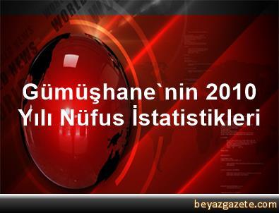 Gümüşhane'nin 2010 Yılı Nüfus İstatistikleri