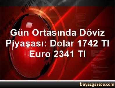 Gün Ortasında Döviz Piyasası: Dolar 1,742 Tl, Euro 2,341 Tl