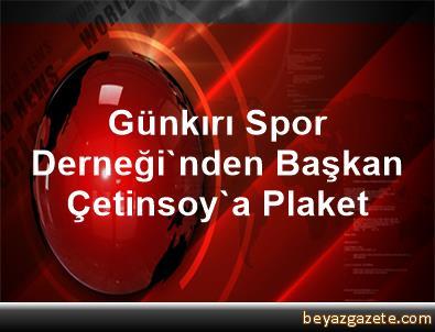 Günkırı Spor Derneği'nden Başkan Çetinsoy'a Plaket