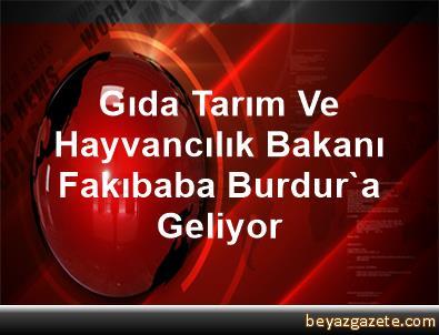 Gıda Tarım Ve Hayvancılık Bakanı Fakıbaba, Burdur'a Geliyor