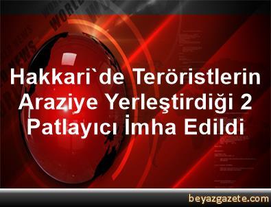 Hakkari'de Teröristlerin Araziye Yerleştirdiği 2 Patlayıcı İmha Edildi
