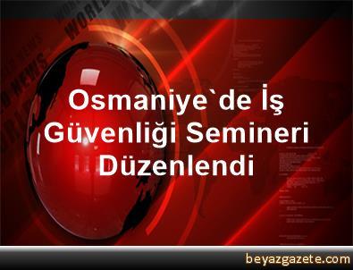 Osmaniye'de İş Güvenliği Semineri Düzenlendi