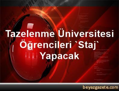 Tazelenme Üniversitesi Öğrencileri 'Staj' Yapacak