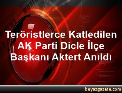 Teröristlerce Katledilen AK Parti Dicle İlçe Başkanı Aktert Anıldı