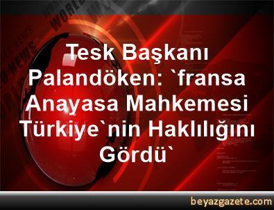 Tesk Başkanı Palandöken: 'fransa Anayasa Mahkemesi Türkiye'nin Haklılığını Gördü'