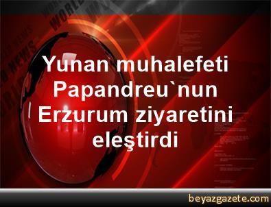 Yunan muhalefeti, Papandreu'nun Erzurum ziyaretini eleştirdi