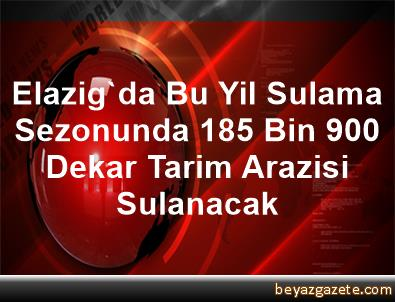 Elazig'da Bu Yil Sulama Sezonunda 185 Bin 900 Dekar Tarim Arazisi Sulanacak