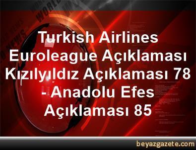 Turkish Airlines Euroleague Açıklaması Kızılyıldız Açıklaması 78 - Anadolu Efes Açıklaması 85