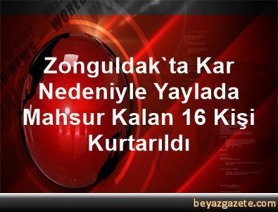 Zonguldak'ta Kar Nedeniyle Yaylada Mahsur Kalan 16 Kişi Kurtarıldı
